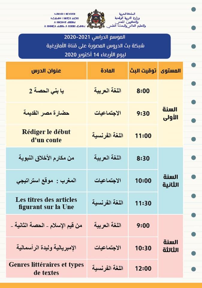 شبكة بث الدروس المصورة على قنوات الثقافية والأمازيغية والعيون ليوم الاربعاء 14 اكتوبر 2020