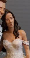 statuina per torta nuziale ritratto sposa mora con capelli sciolti viso personalizzato orme magiche