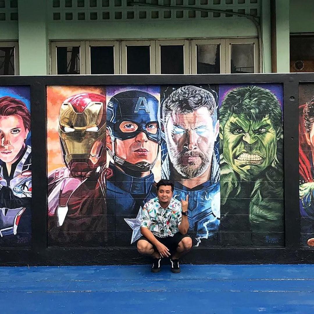 MCU murals at a Junior high in Bangkok : 校内を MCU 化することにしたタイ・バンコクの中学校😃