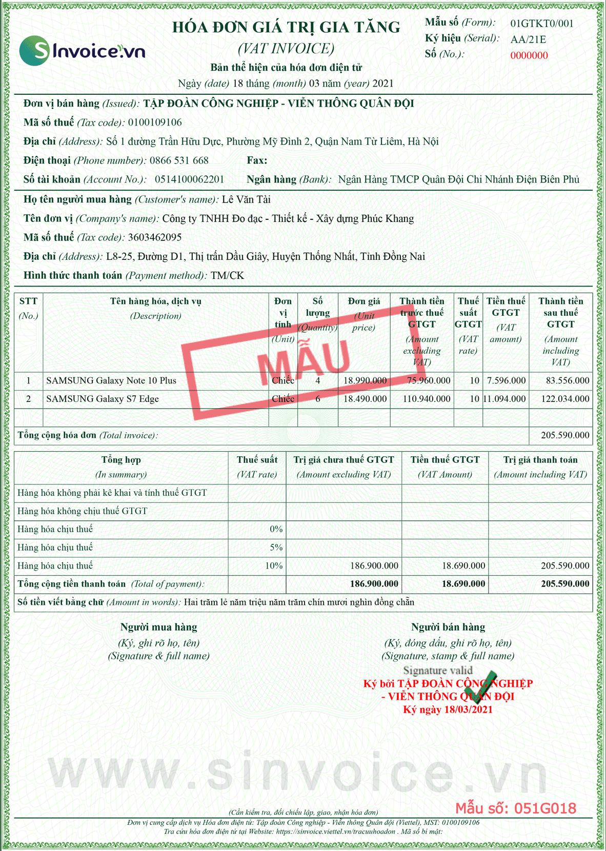 Mẫu hóa đơn điện tử số 051G018