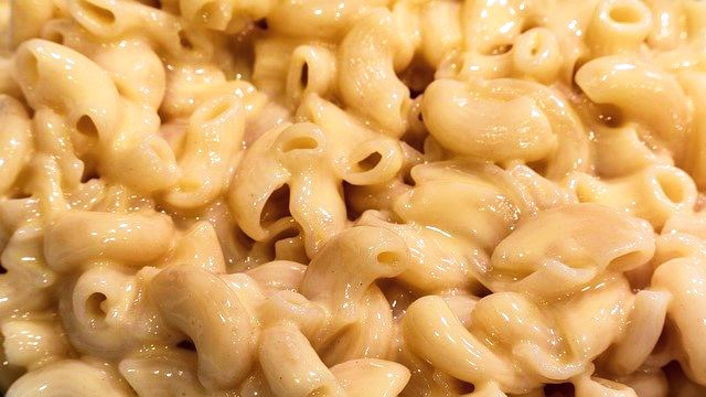 A close up of macaroni cheese