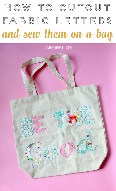 how to cutout fabric letters and sew onto a bag
