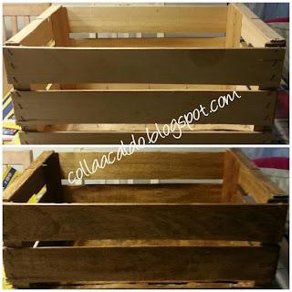 Riciclo creativo cassetta di legno impregnante