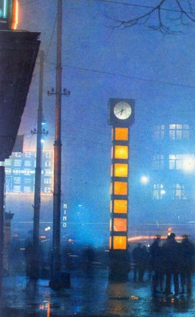"""1974 год. Рига. Перекресток улицы Ленина и бульвара Падомью. Часы-""""кубики"""" без надписи"""
