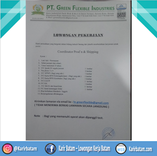 Lowongan Kerja PT. Green Flexible Industries