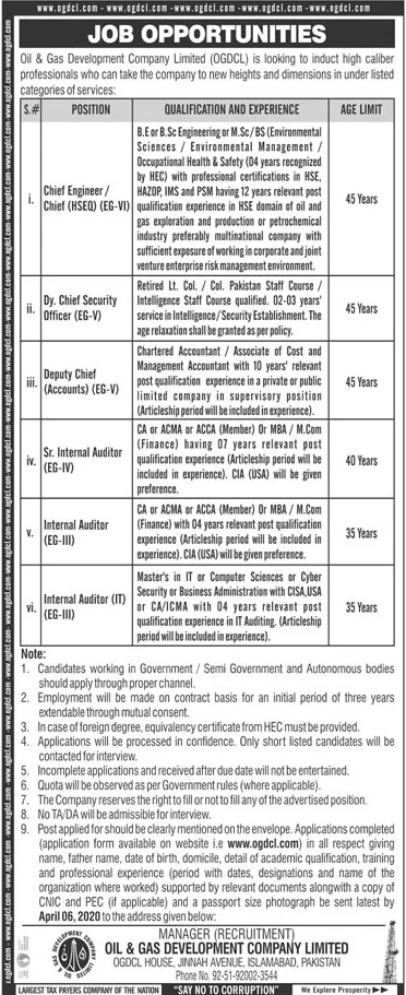 Job Opportunities Oil & Gas Development Company Limited, OGDCL Islamabad