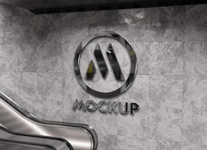 Reflective 3D Logo Wall Mockup