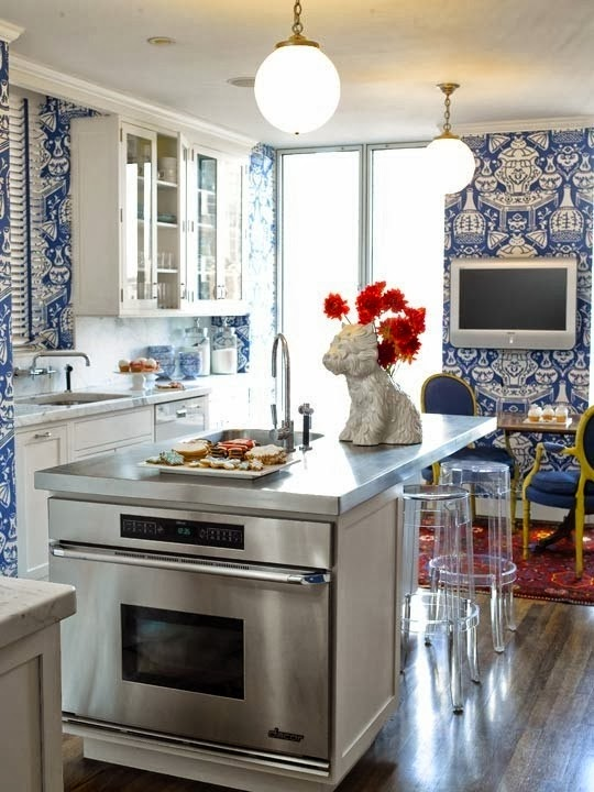 attic playroom design ideas - Design Fixation Trend Alert Blue and White Kitchens