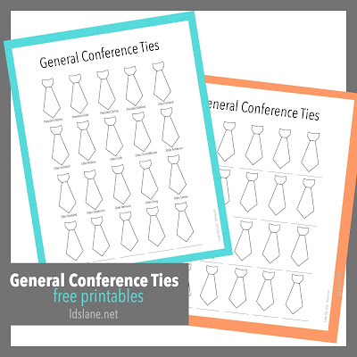 General Conference Ties printables - Latterday Lane