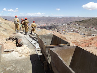 Mining tour group on Cerro Rico overlooking Potosi in Bolivia