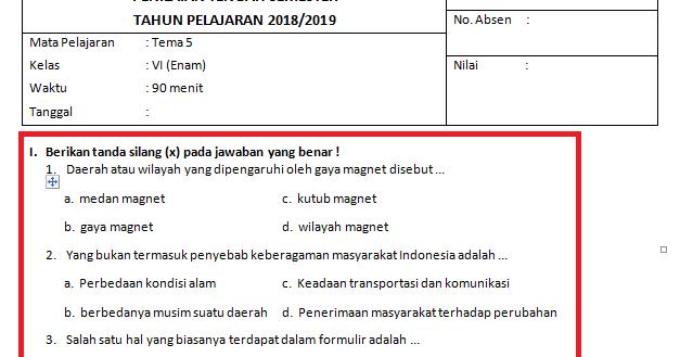 Kumpulan Soal Pas Kelas 1 2 3 4 5 6 Terbaru 2019 2020 Semester Ganjil Dan Genap Info Pendidikan Terbaru