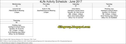 foto Jadual Aktiviti Bulanan Jun 2017 4Life Malaysia