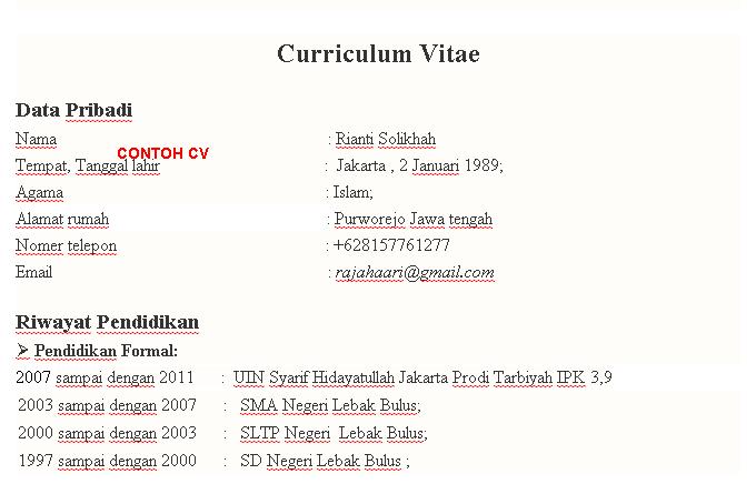 Contoh Cv Lamaran Kerja Curiculum Vitae Bahasa Indonesia Lalod