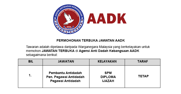 Permohonan Terbuka Jawatan di Agensi Anti Dadah Kebangsaan AADK