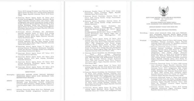 Beban Kerja Guru Madrasah sertifikasi kemenag terbaru, KMA 890