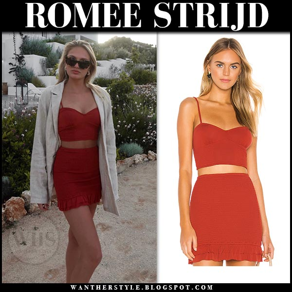 f425ed707dc Romee Strijd in beige blazer, coral crop top and coral mini skirt. Celebrity  summer