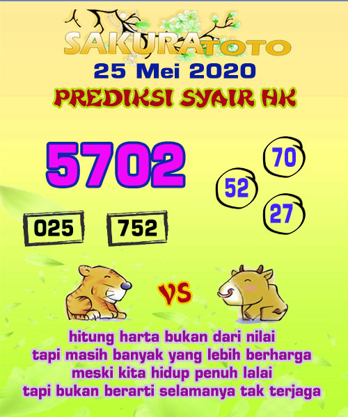 Prediksi HK Malam Ini 25 Mei 2020 - Sakuratoto