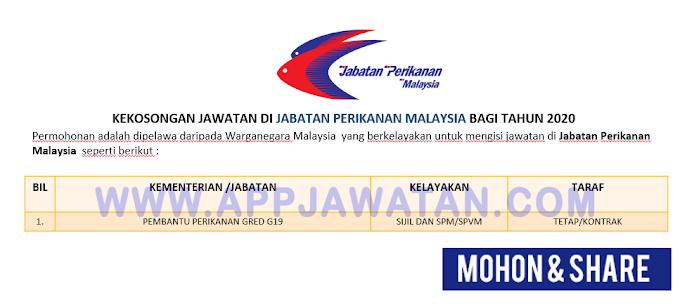 Jawatan Kosong Terkini di Jabatan Perikanan Malaysia