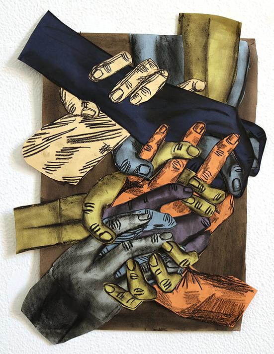 Susanna Inglada  no title, 2020 charcoal, acrylic, pastel, on coloured paper 37 x 30 cm