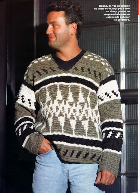 Patrón #1327: Suéter de Hombre a Crochet