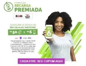 Cadastrar Promoção Cartão Bom Recarga Premiada Ganhe Bônus Celular - Bilhete Único