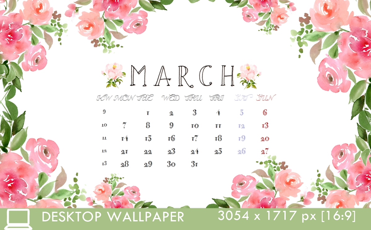 Desktop Calendar 3 March 16 3054x1717px 16:9