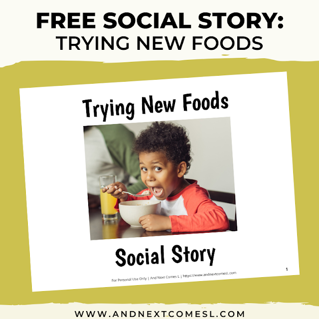 Free printable trying new foods social story