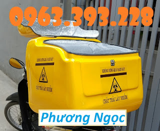 Thùng vận chuyển chất thải nguy hại sau xe máy, thùng chở rác y tế 0e68a8364d0baf55f61a