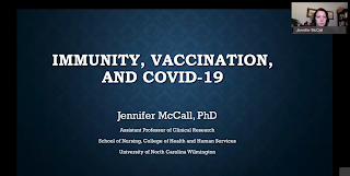"Screen Grab from online training format that reads ""Immunity, Vaccination, and COVID-19"""