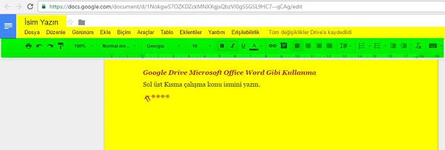 Tarayıcınızın yeni sekmesinde Google Drive Doküman (Word) belgeniz açılacaktır