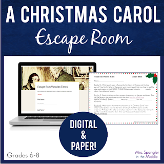 "After reading ""A Christmas Carol"" with your middle school students, have them explore how Dickens used and altered history with this digital NO PREP Escape!  (Paper version is provided too.) #forteachers #classroom"