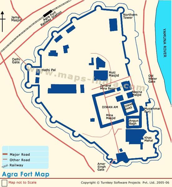 خريطة قلعة أجرا الحمراء في الهند Agra Fort in India Map