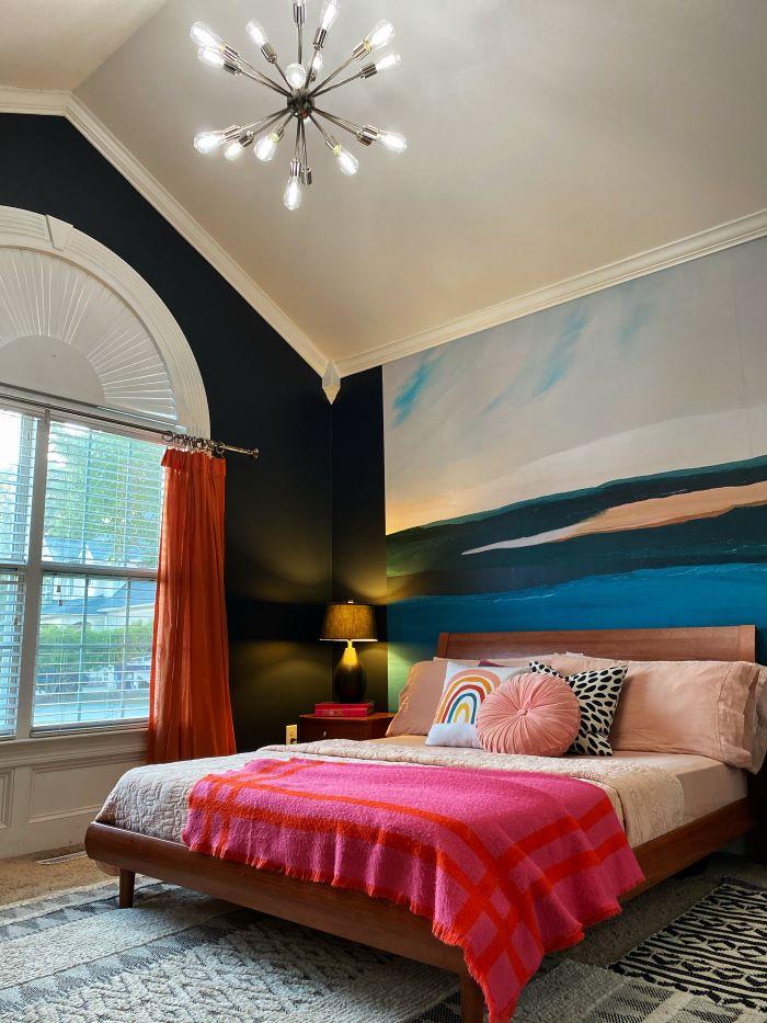 Colorful guest bedroom with EcoSmart lighting bulbs-designaddictmom