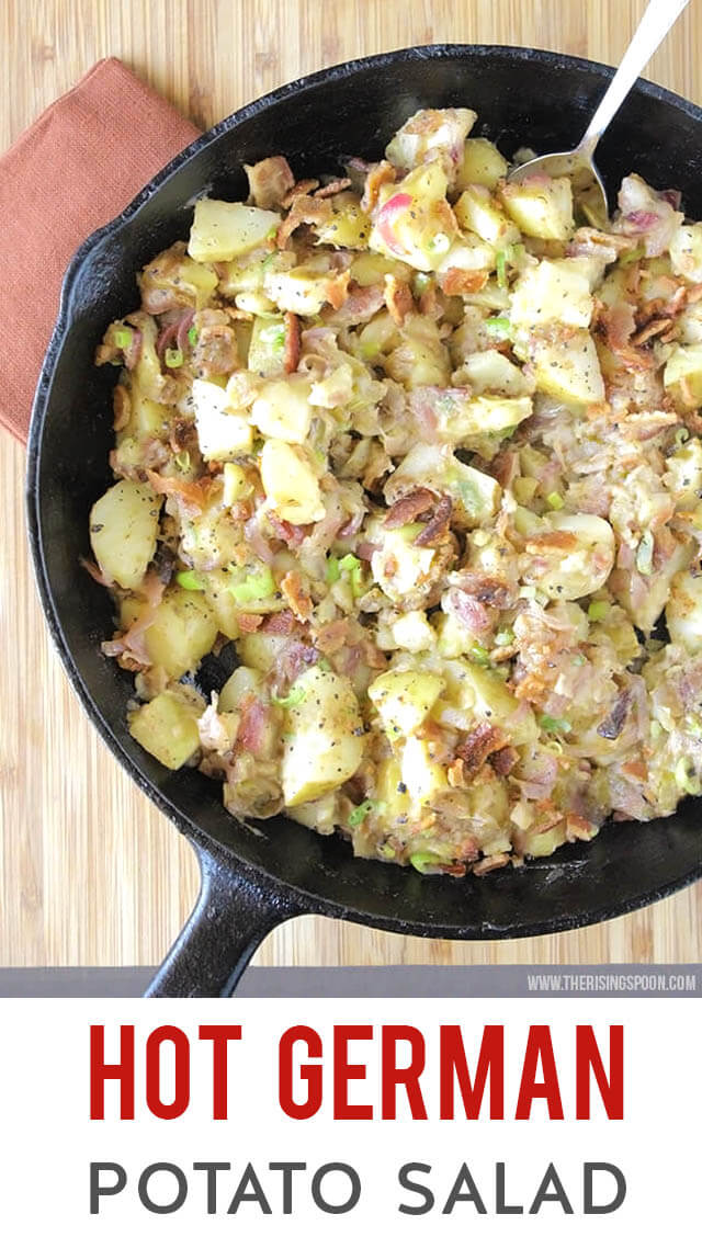 A simple recipe for Hot German potato salad that is tangy, savory, and slightly sweet. It's loaded with crunchy bacon & sauteed onion and tossed in an addicting apple cider vinegar, mustard & bacon fat dressing. Fix this side dish when you need some hearty comfort food to keep your belly warm. (gluten-free, grain-free & dairy-free)