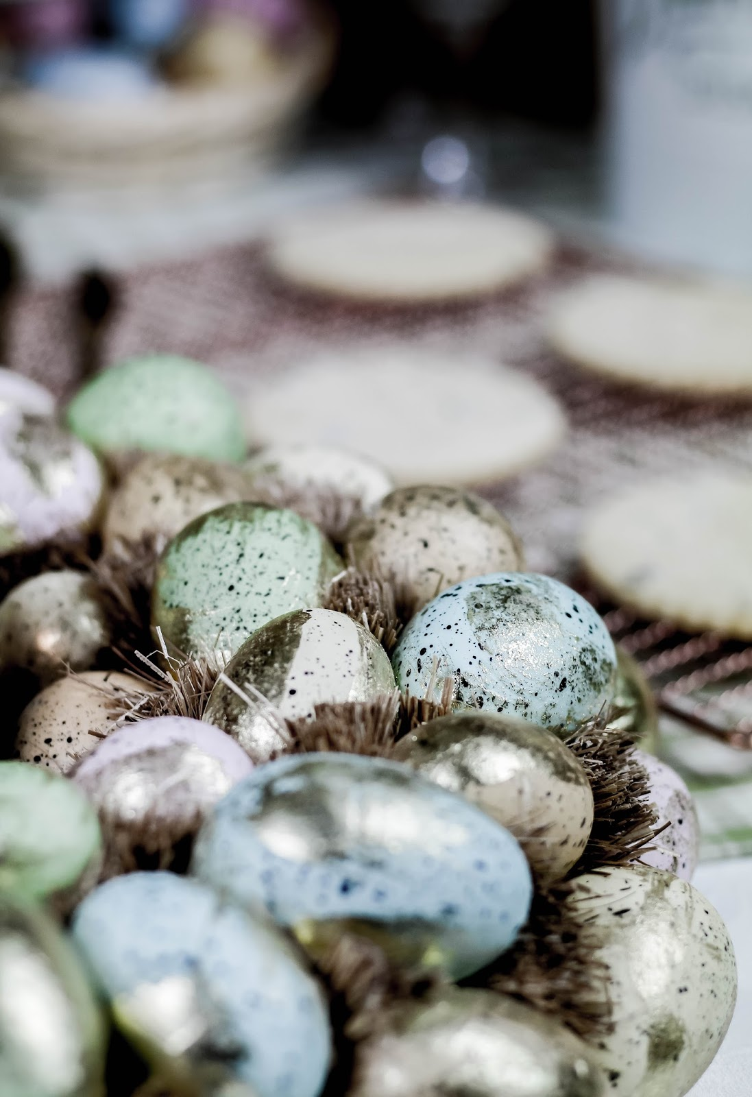 Pastel Coloured Easter Wreath Eggs and Straw