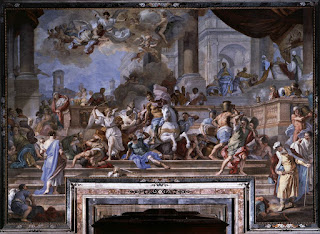 Solimena's spectacular Expulsion of Heliodorus from the Temple can be seen in the church of Gesù Nuovo in Naples