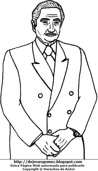 Dibujo de Augusto Pinochet para dibujar y pintar. Ilustración de Augusto Pinochet de Jesus Gómez