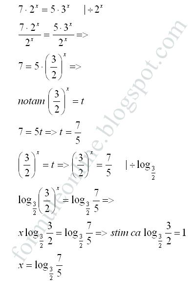 ecuatii exponentiale rezolvate