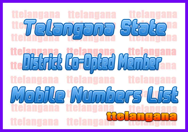 Mahabubnagar District Co-Opted Member Mobile Numbers List in Telangana State