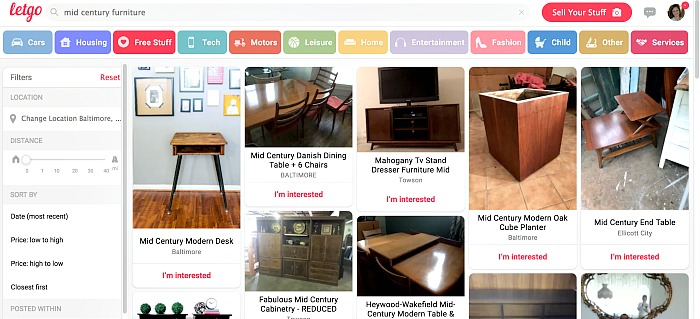 Searching Letgo for used furniture and decor