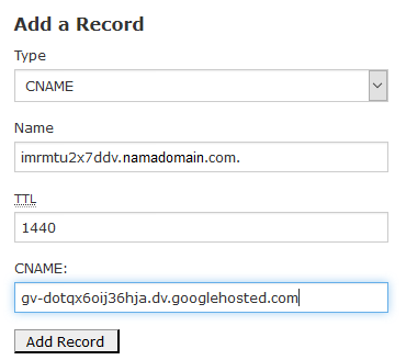 add record untuk CNAME baru