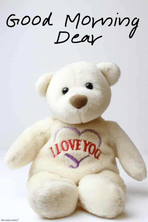 good morning dear with teddy bear