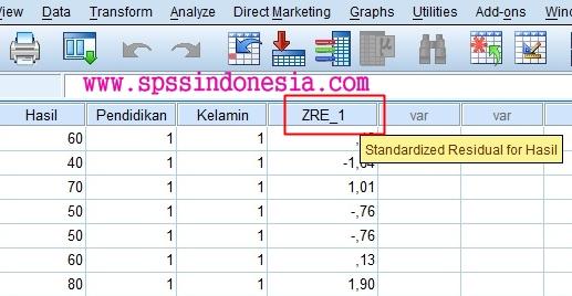 ZRE_1 atau Standardized Residual SPSS