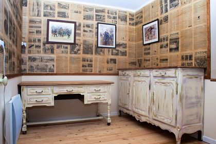 bespoke wallpaper, newspaper wallpaper, world war one wallpaper, Historical study, Renovations in France,
