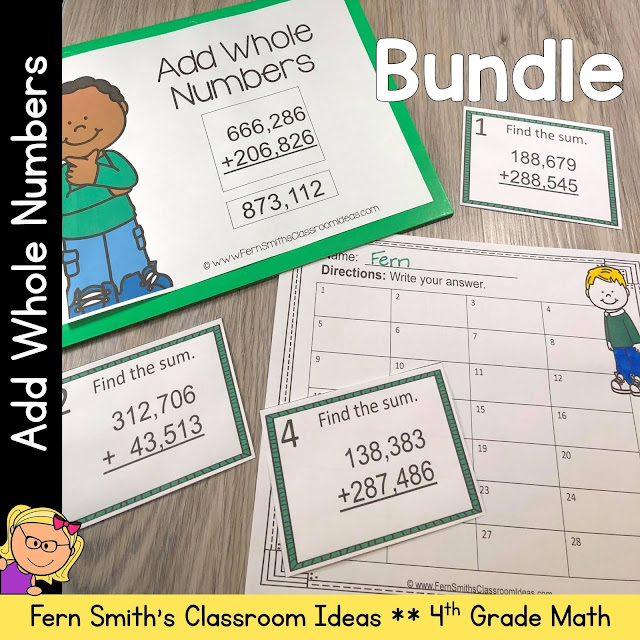 4th Grade Go Math 1.6 Add Whole Numbers Bundle #FernSmithsClassroomIdeas