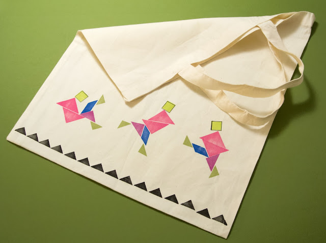 Stamped Tangram on a canvas tote