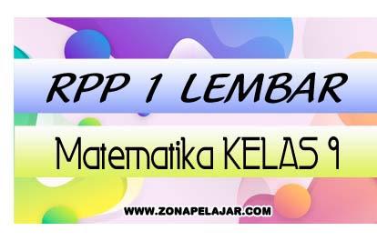 Download RPP 1 Lembar Matematika SMP/MTs Kelas 9