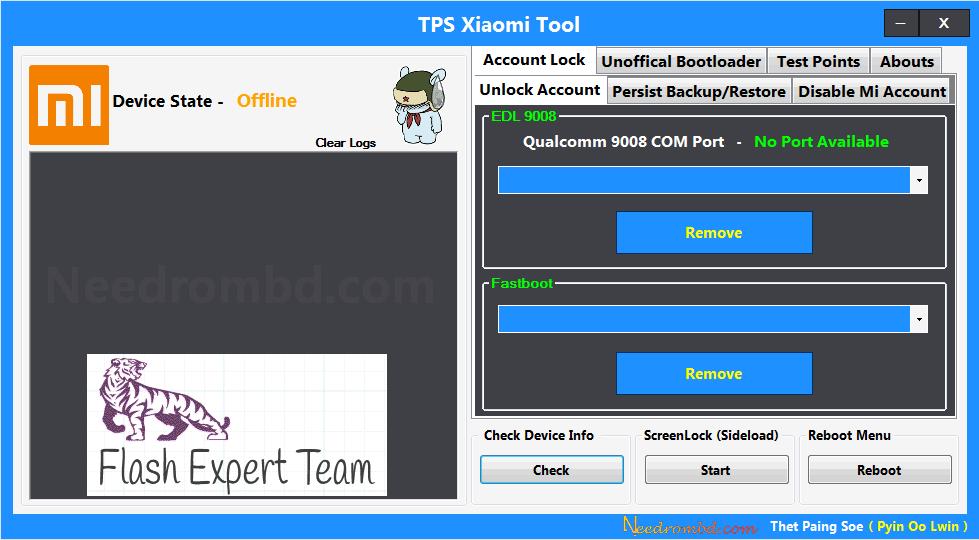 TPS Xiaomi Tool Remove Any Mi Account - Flash Expert Team