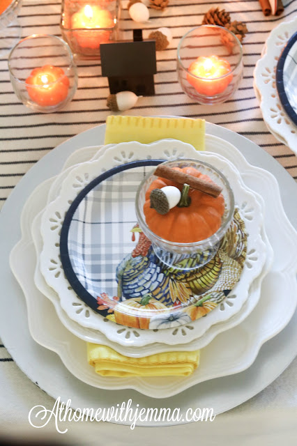 plate, stack, thanksgiving, blue, yellow, white, athomewithjemma.com