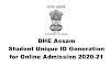 DHE Assam, Student Unique ID Generation 2020-21 for Online Admission